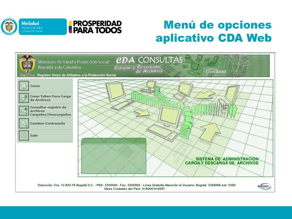 Menú de opciones aplicativo CDA Web