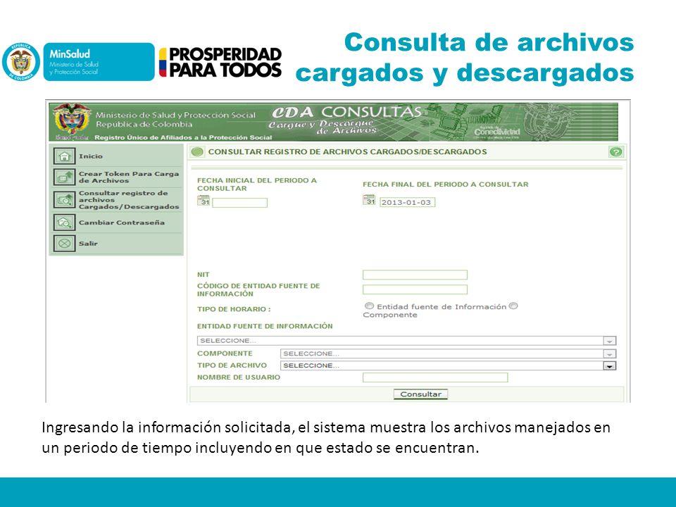 Consulta de archivos cargados y descargados Ingresando la información solicitada, el sistema muestra los archivos manejados en un periodo de tiempo in