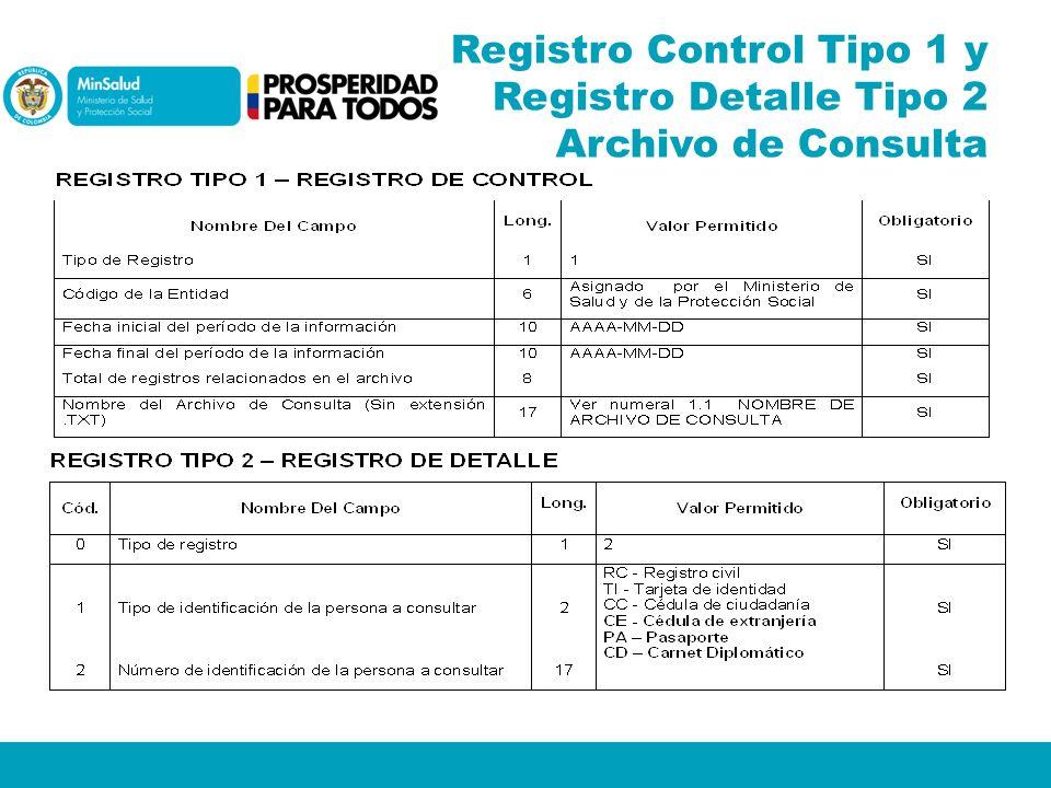 Registro Control Tipo 1 y Registro Detalle Tipo 2 Archivo de Consulta