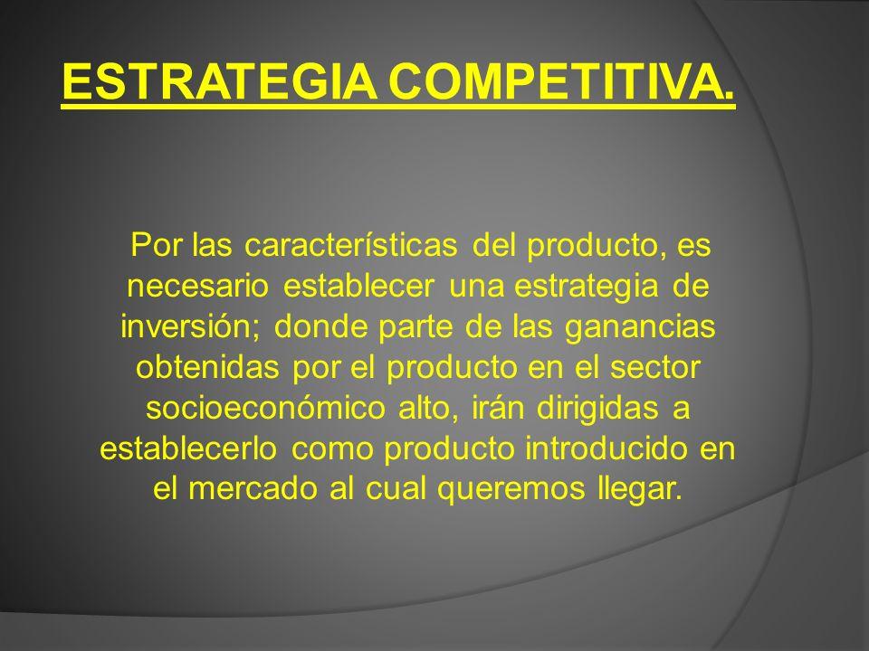 ESTRATEGIA COMPETITIVA. Por las características del producto, es necesario establecer una estrategia de inversión; donde parte de las ganancias obteni