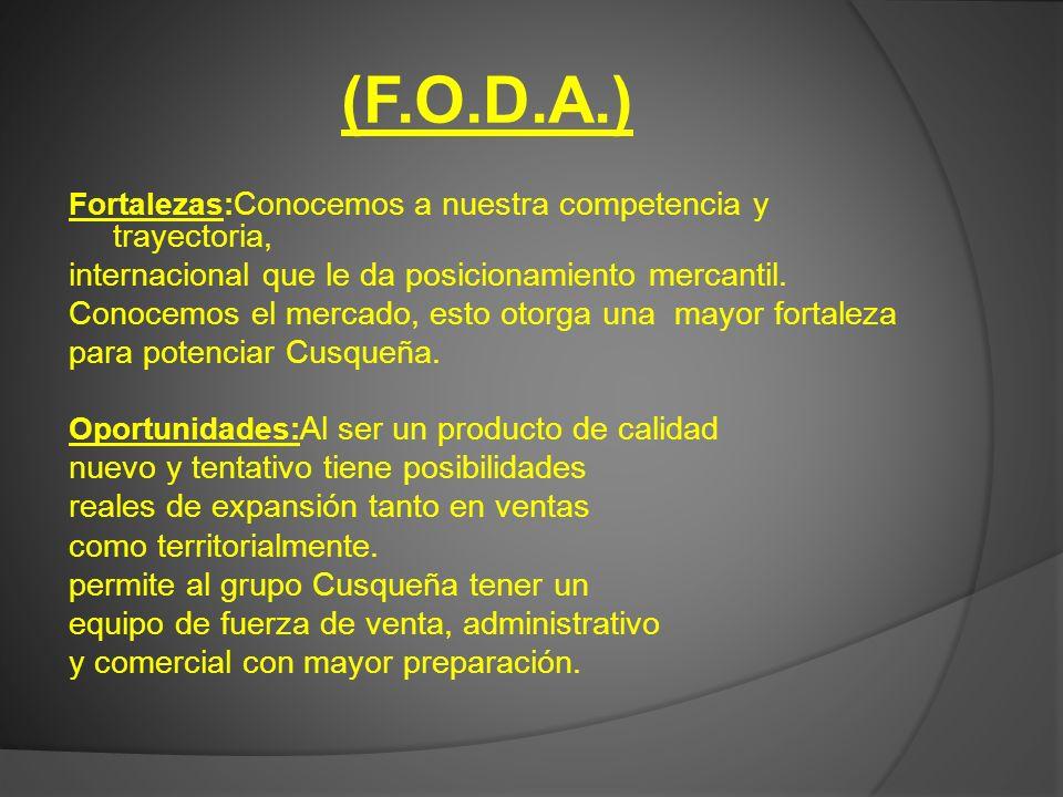 (F.O.D.A.) Fortalezas: Conocemos a nuestra competencia y trayectoria, internacional que le da posicionamiento mercantil. Conocemos el mercado, esto ot