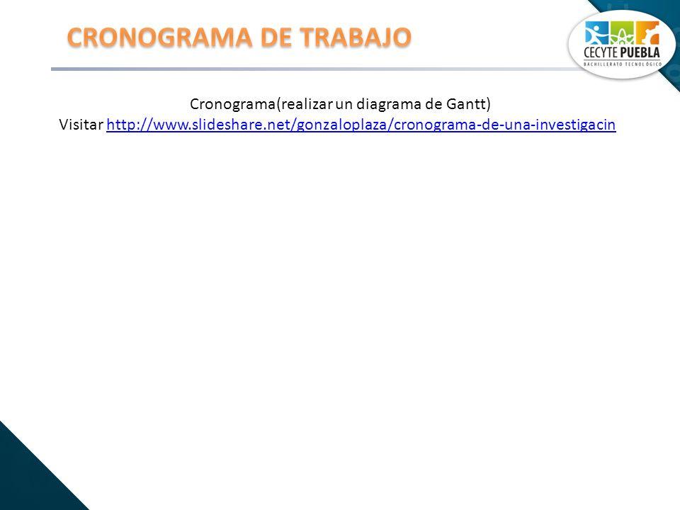 Cronograma(realizar un diagrama de Gantt) Visitar http://www.slideshare.net/gonzaloplaza/cronograma-de-una-investigacinhttp://www.slideshare.net/gonza