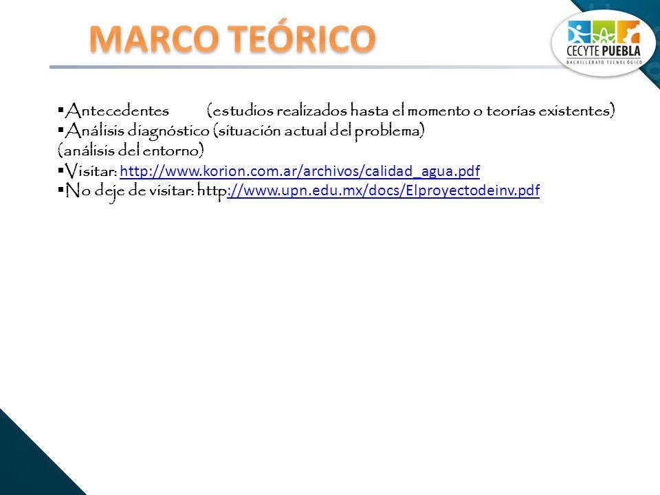 Antecedentes (estudios realizados hasta el momento o teorías existentes) Análisis diagnóstico (situación actual del problema) (análisis del entorno) Visitar: http://www.korion.com.ar/archivos/calidad_agua.pdf http://www.korion.com.ar/archivos/calidad_agua.pdf No deje de visitar: http ://www.upn.edu.mx/docs/Elproyectodeinv.pdf ://www.upn.edu.mx/docs/Elproyectodeinv.pdf