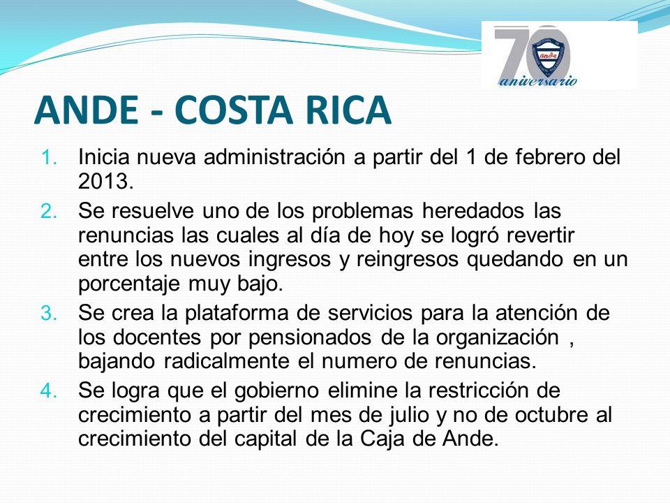 ANDE - COSTA RICA 1. Inicia nueva administración a partir del 1 de febrero del 2013.