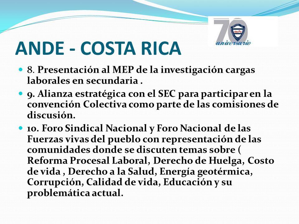 ANDE - COSTA RICA 8. Presentación al MEP de la investigación cargas laborales en secundaria.