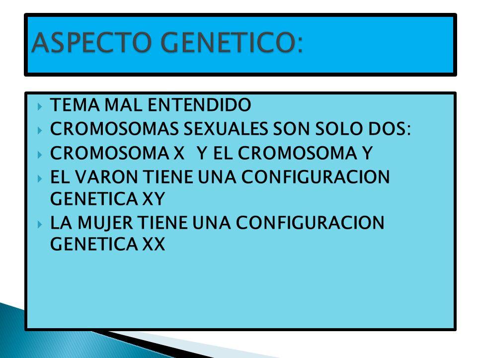 TEMA MAL ENTENDIDO CROMOSOMAS SEXUALES SON SOLO DOS: CROMOSOMA X Y EL CROMOSOMA Y EL VARON TIENE UNA CONFIGURACION GENETICA XY LA MUJER TIENE UNA CONF