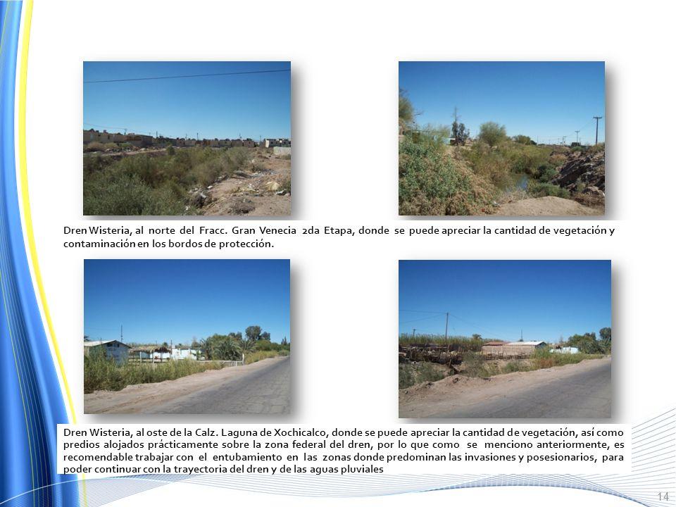 Se anexan algunas fotografías representativas de las condiciones de los principales Drenes agrícolas los cuales se localizan dentro de la mancha Urban