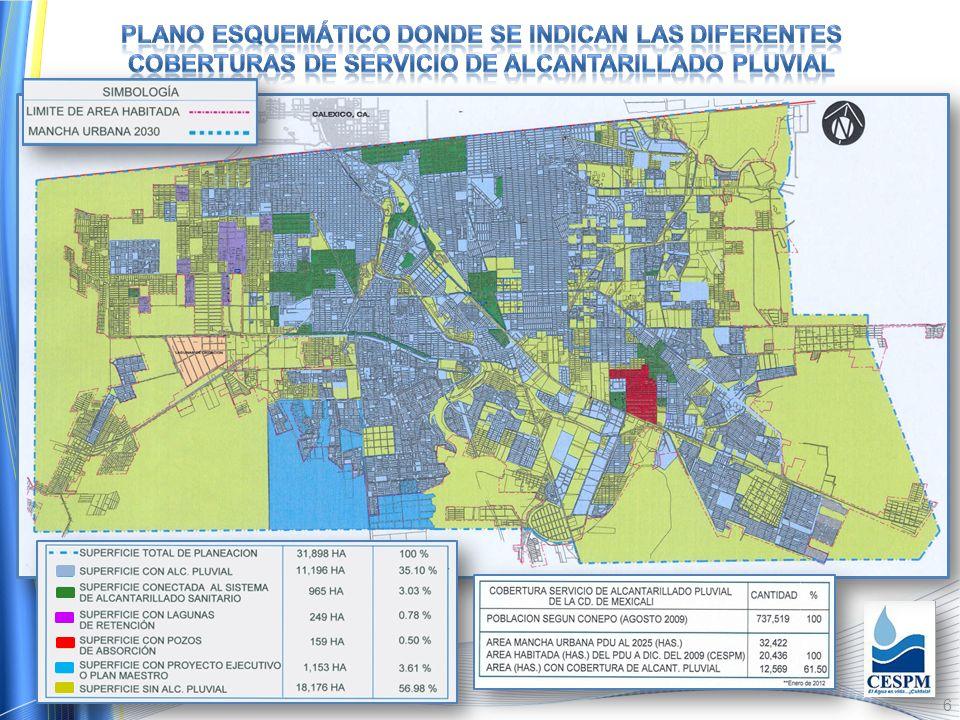 5 El Municipio de Mexicali cuenta con una red pluvial con longitud total de 829,762 metros lineales, mientras que la Ciudad cuenta con 818,597 metros,