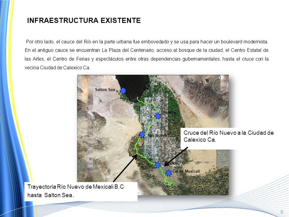 7 El Río Nuevo se origina al Sur de Mexicali, desde la zona agrícola con un desarrollo de 45 Km aproximadamente, atraviesa toda la Ciudad con una long