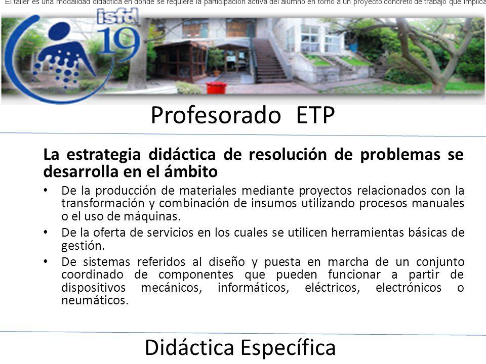 Profesorado ETP Didáctica Específica El taller es una modalidad didáctica en donde se requiere la participación activa del alumno en torno a un proyec