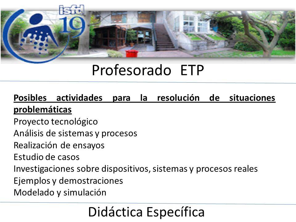 Profesorado ETP Didáctica Específica Posibles actividades para la resolución de situaciones problemáticas Proyecto tecnológico Análisis de sistemas y