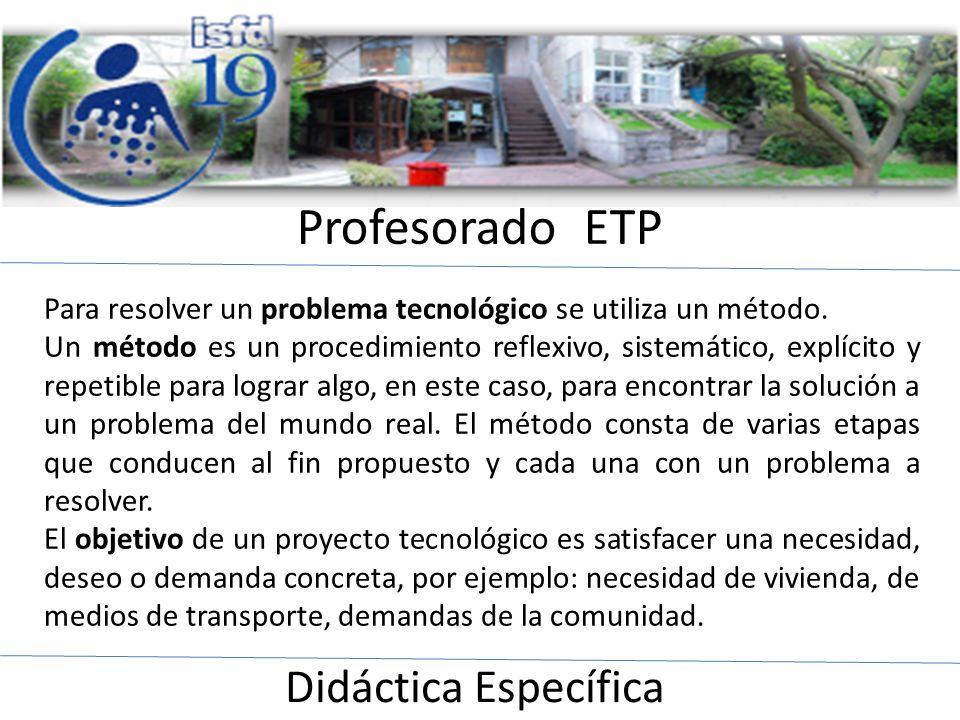 Profesorado ETP Didáctica Específica Para resolver un problema tecnológico se utiliza un método. Un método es un procedimiento reflexivo, sistemático,