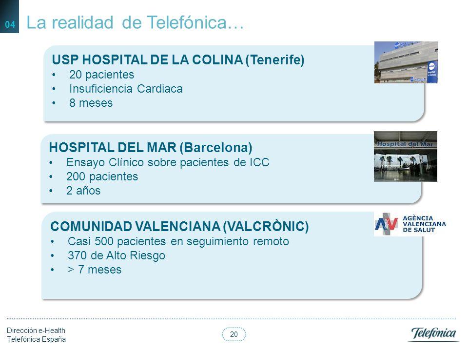 19 Dirección e-Health Telefónica España 04 El camino de la Teoría a la Realidad… Definición del Modelo Kaiser por especialistas Diseño del Modelo de A