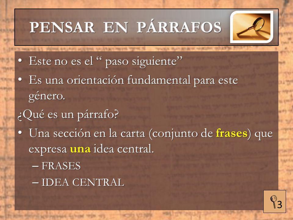 PENSAR EN PÁRRAFOS HERMENÉUTICA APLICADA