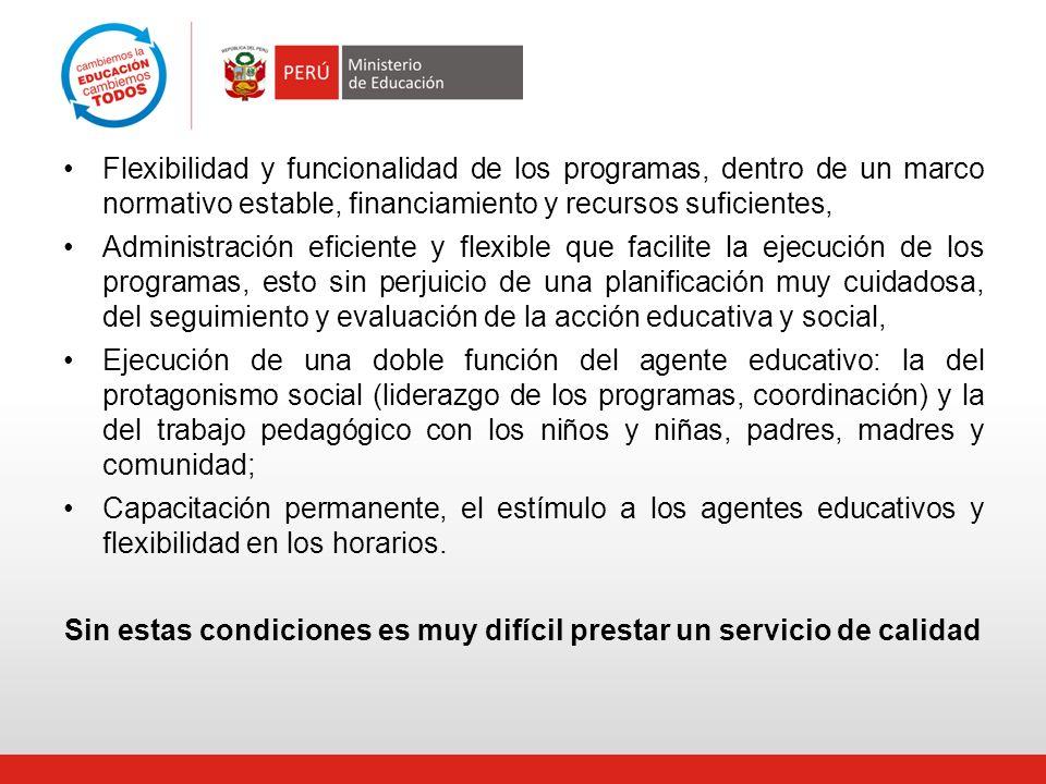 Flexibilidad y funcionalidad de los programas, dentro de un marco normativo estable, financiamiento y recursos suficientes, Administración eficiente y