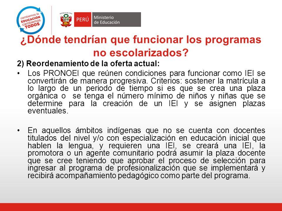 ¿Dónde tendrían que funcionar los programas no escolarizados? 2) Reordenamiento de la oferta actual: Los PRONOEI que reúnen condiciones para funcionar