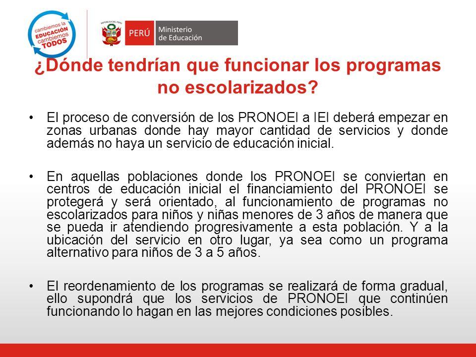 ¿Dónde tendrían que funcionar los programas no escolarizados? El proceso de conversión de los PRONOEI a IEI deberá empezar en zonas urbanas donde hay
