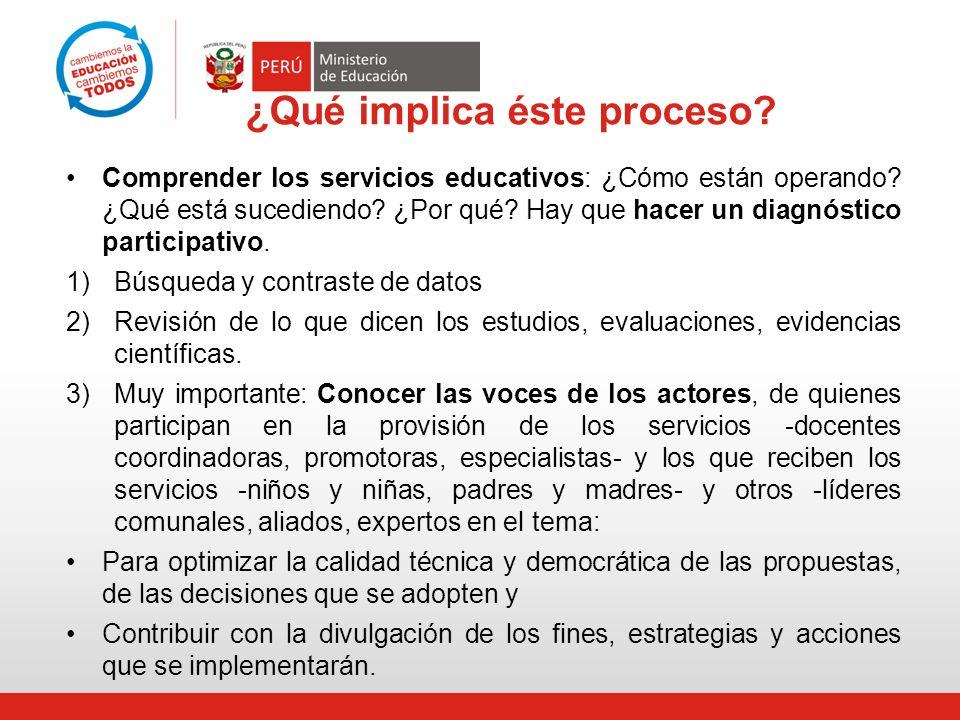 ¿Qué implica éste proceso? Comprender los servicios educativos: ¿Cómo están operando? ¿Qué está sucediendo? ¿Por qué? Hay que hacer un diagnóstico par