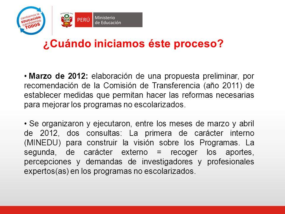 Marzo de 2012: elaboración de una propuesta preliminar, por recomendación de la Comisión de Transferencia (año 2011) de establecer medidas que permita
