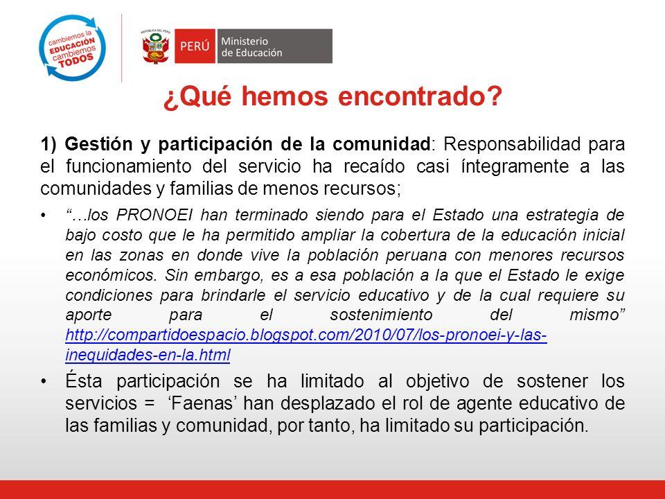 ¿Qué hemos encontrado? 1) Gestión y participación de la comunidad: Responsabilidad para el funcionamiento del servicio ha recaído casi íntegramente a
