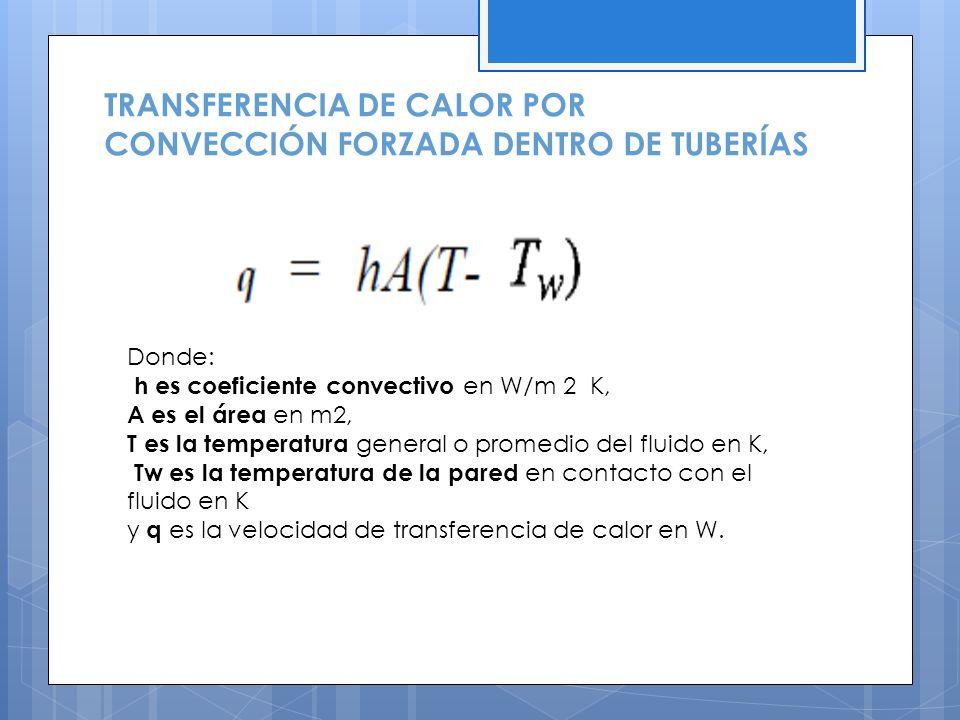 TRANSFERENCIA DE CALOR POR CONVECCIÓN FORZADA DENTRO DE TUBERÍAS Donde: h es coeficiente convectivo en W/m 2 K, A es el área en m2, T es la temperatura general o promedio del fluido en K, Tw es la temperatura de la pared en contacto con el fluido en K y q es la velocidad de transferencia de calor en W.