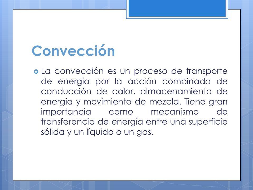 La convección es un proceso de transporte de energía por la acción combinada de conducción de calor, almacenamiento de energía y movimiento de mezcla.