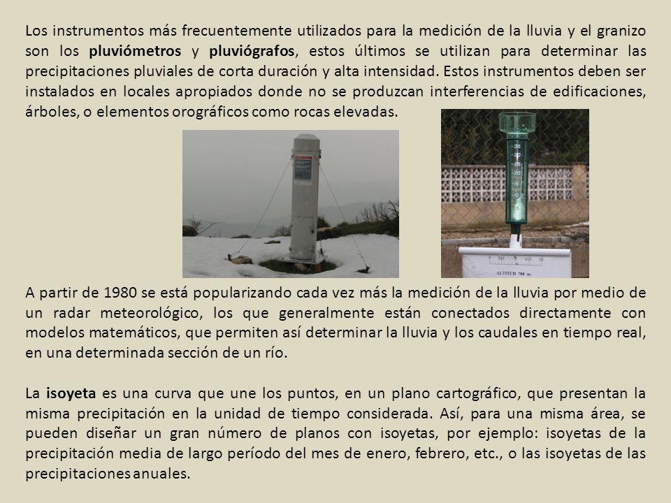 Los instrumentos más frecuentemente utilizados para la medición de la lluvia y el granizo son los pluviómetros y pluviógrafos, estos últimos se utiliz