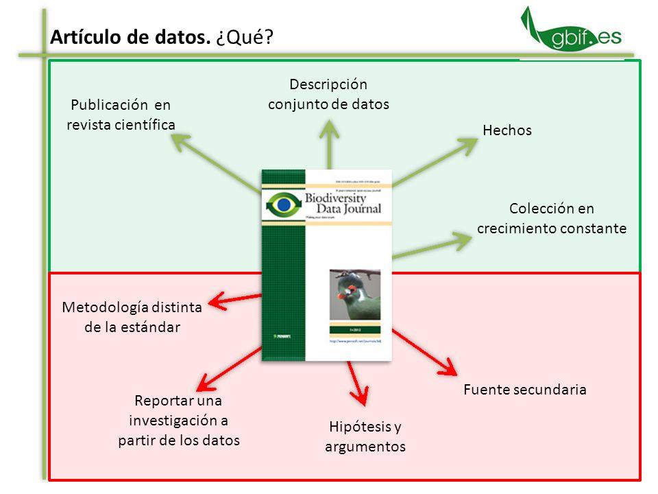 Metodología distinta de la estándar Artículo de datos.