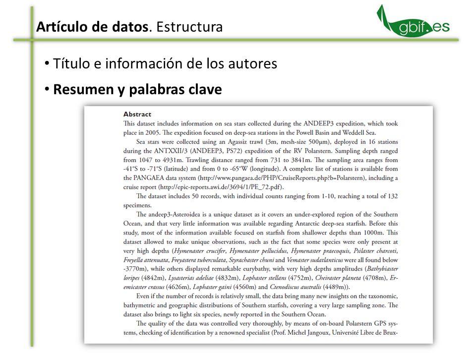 Resumen y palabras clave Artículo de datos. Estructura