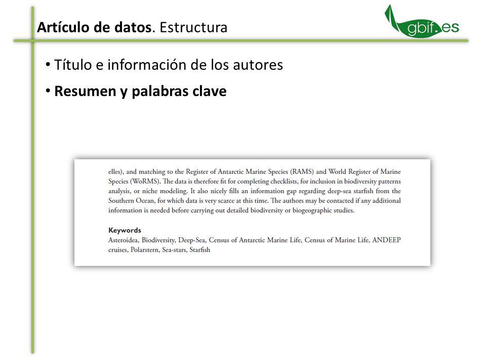 Título e información de los autores Resumen y palabras clave
