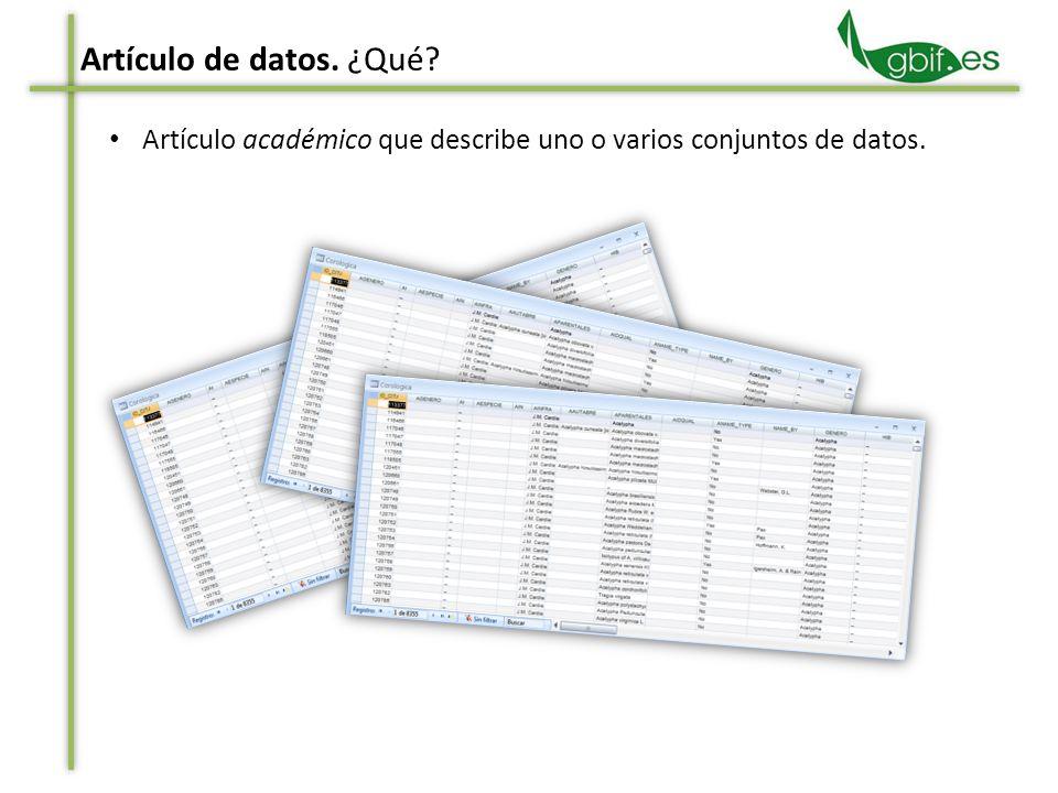 Artículo académico que describe uno o varios conjuntos de datos. Artículo de datos. ¿Qué?