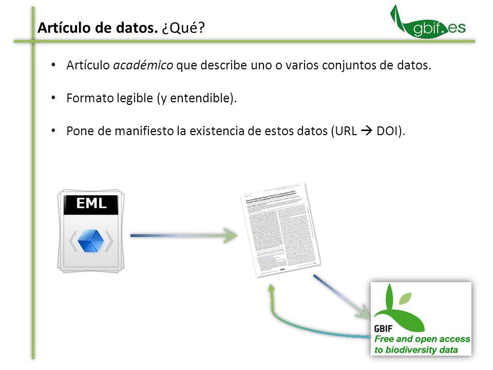 Artículo académico que describe uno o varios conjuntos de datos. Formato legible (y entendible). Pone de manifiesto la existencia de estos datos (URL
