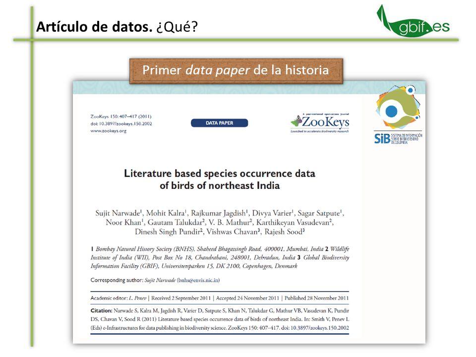Artículo de datos. ¿Qué? Primer data paper de la historia