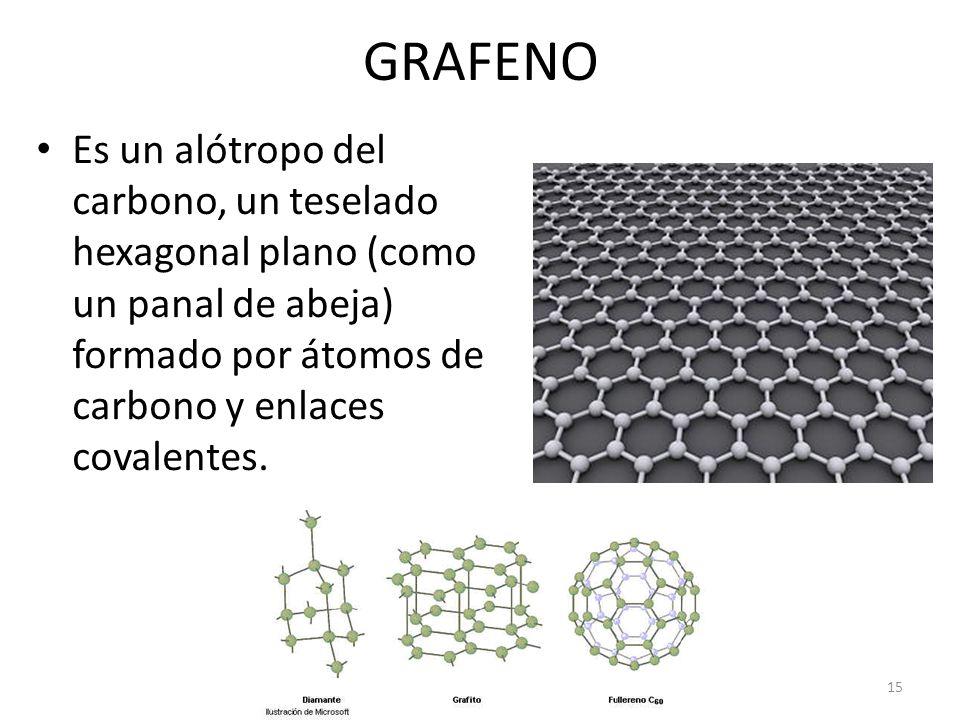 GRAFENO Es un alótropo del carbono, un teselado hexagonal plano (como un panal de abeja) formado por átomos de carbono y enlaces covalentes.