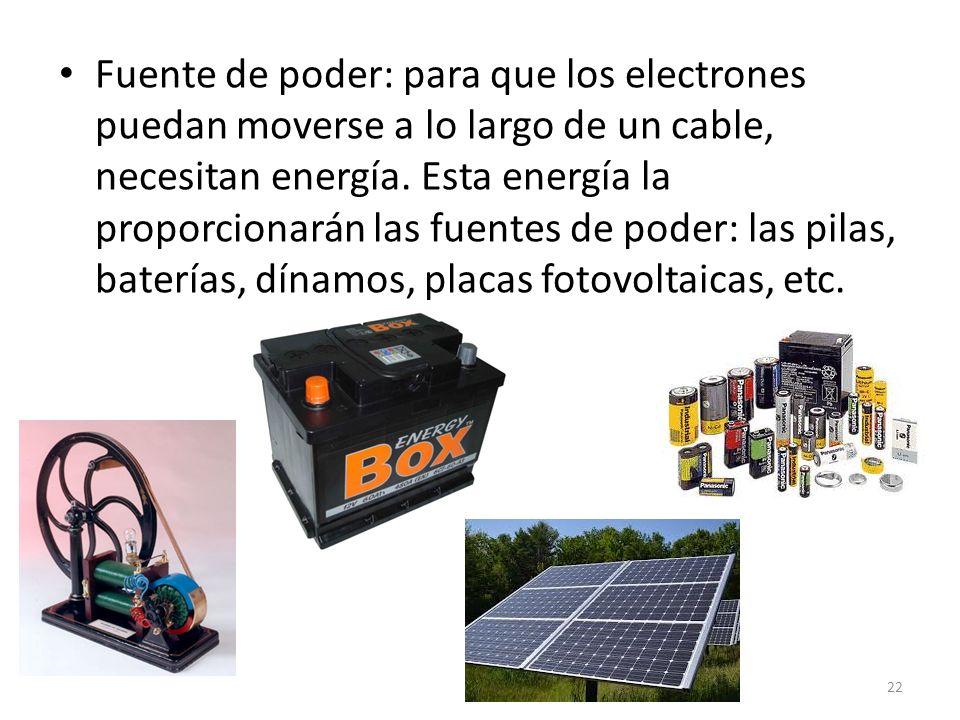 Fuente de poder: para que los electrones puedan moverse a lo largo de un cable, necesitan energía.