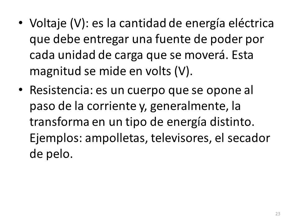 Voltaje (V): es la cantidad de energía eléctrica que debe entregar una fuente de poder por cada unidad de carga que se moverá.
