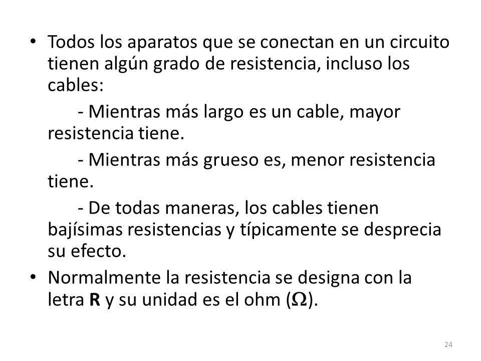 Todos los aparatos que se conectan en un circuito tienen algún grado de resistencia, incluso los cables: - Mientras más largo es un cable, mayor resistencia tiene.