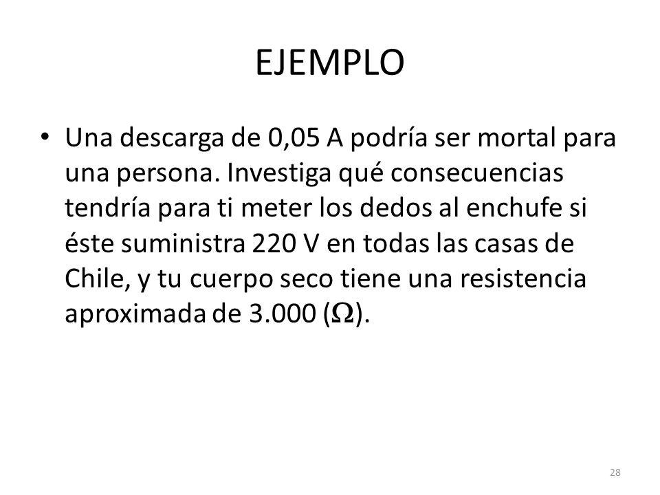EJEMPLO Una descarga de 0,05 A podría ser mortal para una persona.