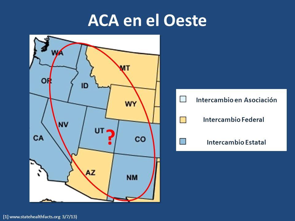 ACA en el Oeste [1] www.statehealthfacts.org 3/7/13) .
