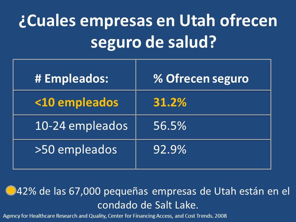 ¿Cuales empresas en Utah ofrecen seguro de salud.