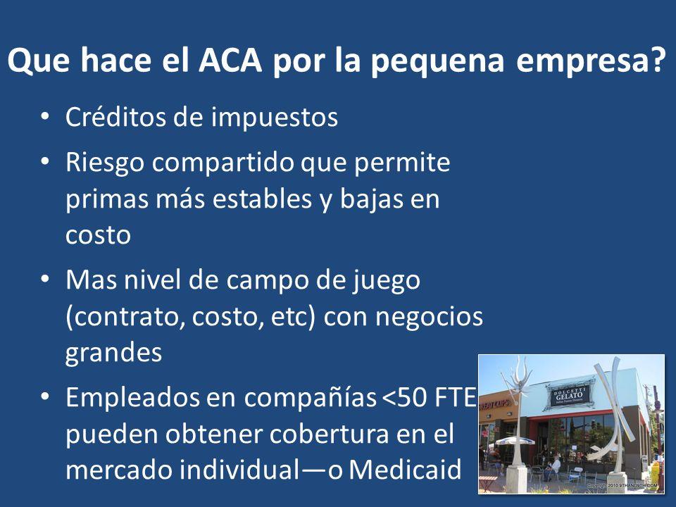 Que hace el ACA por la pequena empresa.