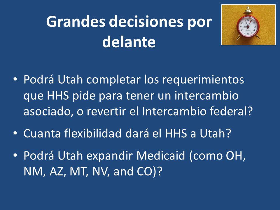Grandes decisiones por delante Podrá Utah completar los requerimientos que HHS pide para tener un intercambio asociado, o revertir el Intercambio federal.