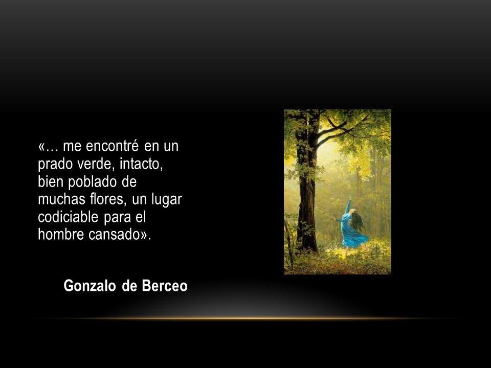 «… me encontré en un prado verde, intacto, bien poblado de muchas flores, un lugar codiciable para el hombre cansado». Gonzalo de Berceo