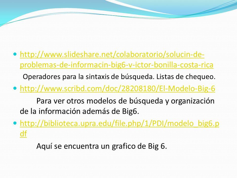 http://www.slideshare.net/colaboratorio/solucin-de- problemas-de-informacin-big6-v-ictor-bonilla-costa-rica http://www.slideshare.net/colaboratorio/solucin-de- problemas-de-informacin-big6-v-ictor-bonilla-costa-rica Operadores para la sintaxis de búsqueda.