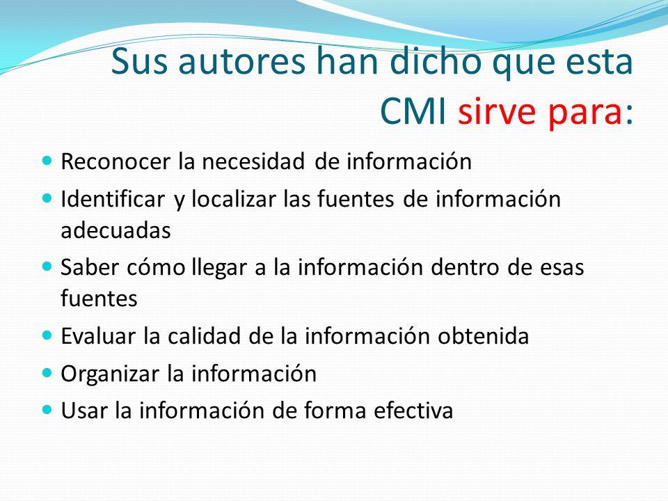 Sus autores han dicho que esta CMI sirve para: Reconocer la necesidad de información Identificar y localizar las fuentes de información adecuadas Saber cómo llegar a la información dentro de esas fuentes Evaluar la calidad de la información obtenida Organizar la información Usar la información de forma efectiva