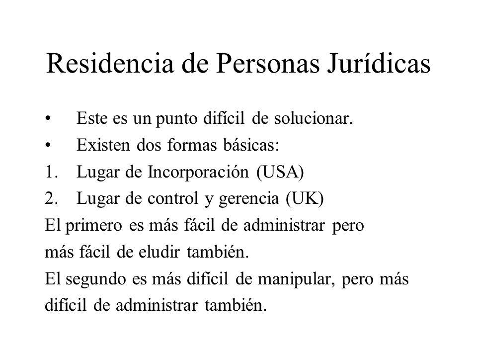 Residencia de Personas Jurídicas Este es un punto difícil de solucionar. Existen dos formas básicas: 1.Lugar de Incorporación (USA) 2.Lugar de control