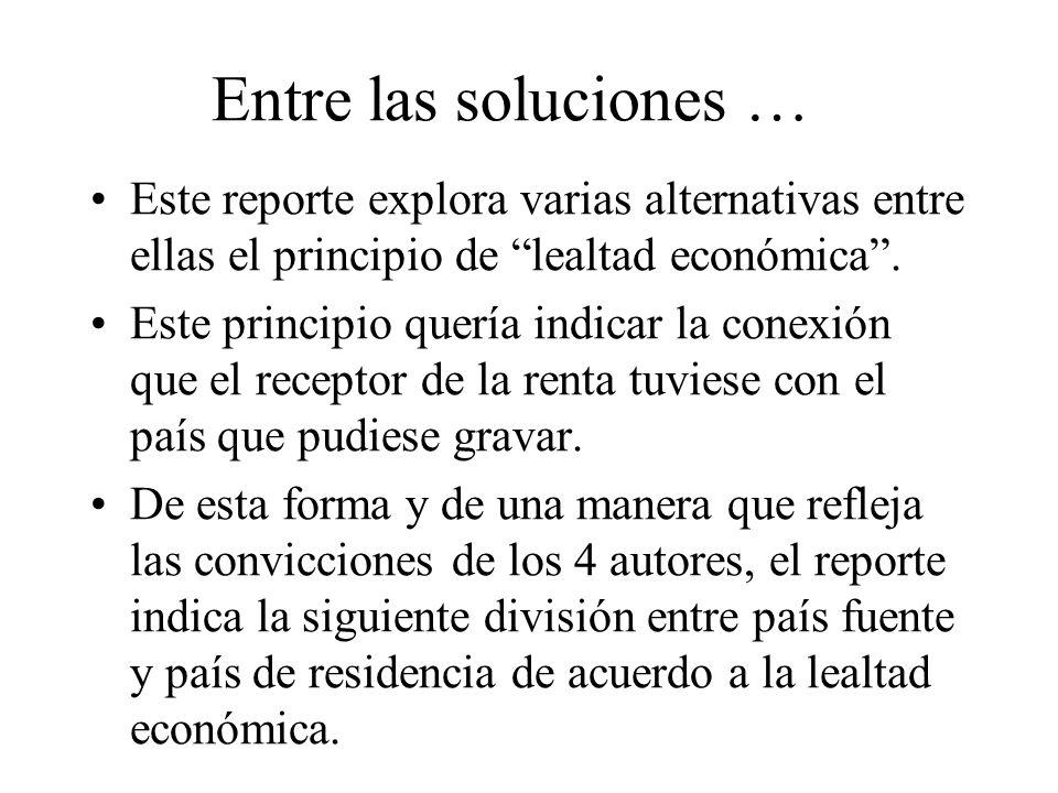 Entre las soluciones … Este reporte explora varias alternativas entre ellas el principio de lealtad económica. Este principio quería indicar la conexi