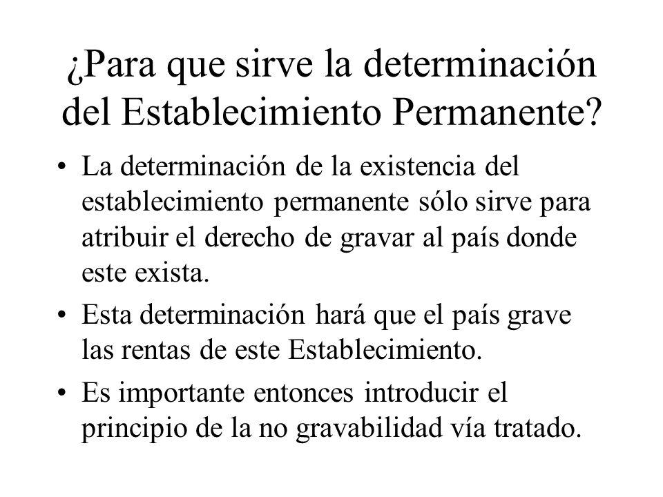 ¿Para que sirve la determinación del Establecimiento Permanente? La determinación de la existencia del establecimiento permanente sólo sirve para atri
