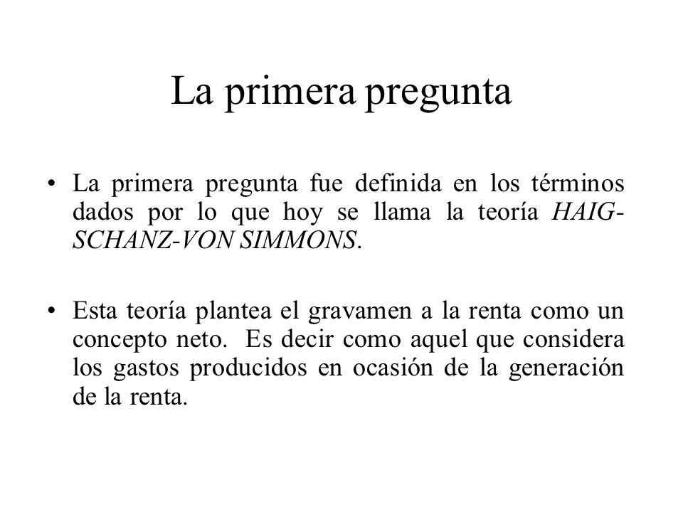 La primera pregunta La primera pregunta fue definida en los términos dados por lo que hoy se llama la teoría HAIG- SCHANZ-VON SIMMONS. Esta teoría pla