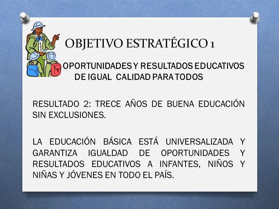OBJETIVO ESTRATÉGICO 1 OPORTUNIDADES Y RESULTADOS EDUCATIVOS DE IGUAL CALIDAD PARA TODOS RESULTADO 2: TRECE AÑOS DE BUENA EDUCACIÓN SIN EXCLUSIONES.